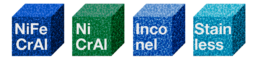 NiFeCrAl, NiCrAl, Inconel and Stainless steel